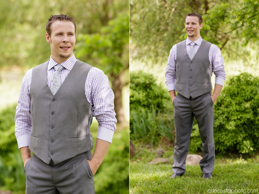 Groom Looks Great In A Gray Vest Purple Plaid Shirt And Paisley Tie